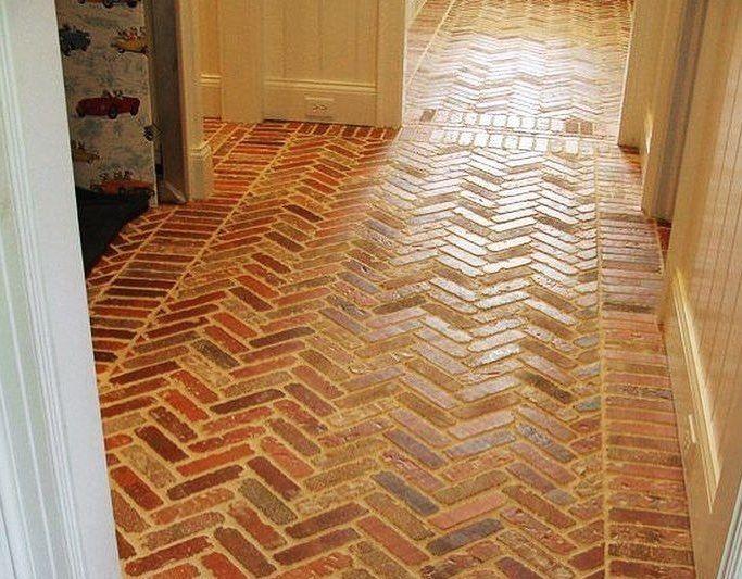 Brick Tiles Floor In Home Hallway | Flooring Ideas | Floor Design Trends