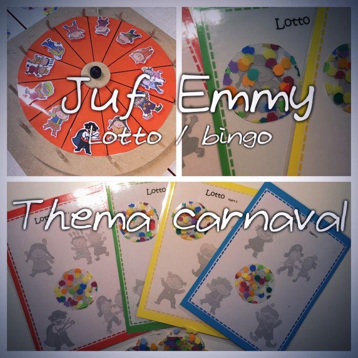 Juf Emmy ❤️ Lotto thema carnaval Draai aan het rad, heb jij de afbeelding op je kaart staan? Dan mag je deze onder de confetti verstoppen
