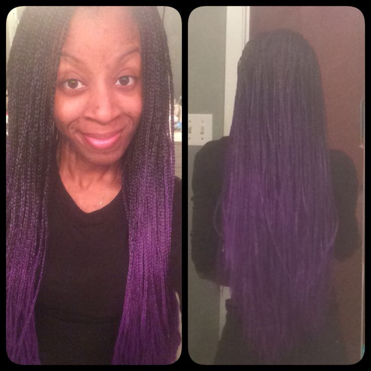 Back View Of Purple Ombre Box Braids Braid Styles