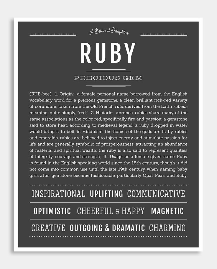 Ruby   Classic Name Print   Classic names, Names with ...