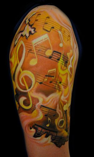 music sheet half Sleeve Tattoos | Pin Sleeve Tattoo Music Ideas For Men Hawaii Dermatology on Pinterest