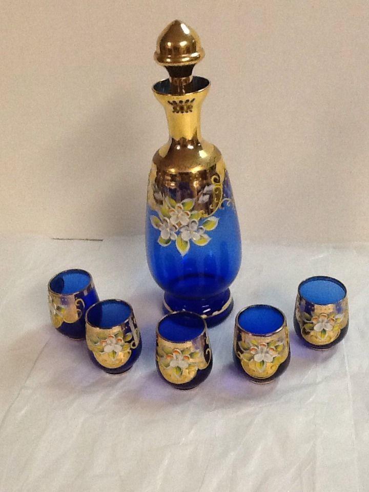 Cobalt Blue Italian Decanter Cordial Set Gold Filigree