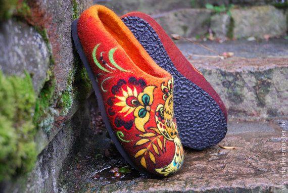 Купить Тапочки «Райские птицы» хохлома - хохлома, хохломская роспись, русский стиль, валяные тапочки