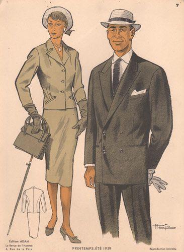 1950s Fashion | 1950s Fashion Print, Man and Woman