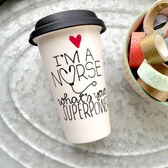 Nurse Travel Mug Ceramic Coffee Mug by MorningSunshineShop
