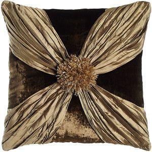 Dian Austin Couture Início Gatsby Velvet Pillow com o envoltório de seda esmagada