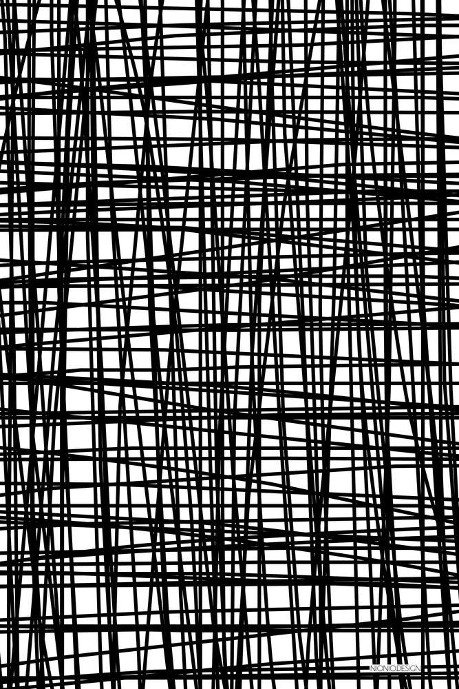 Graphic black & white pattern, monochrome print design // Nionio