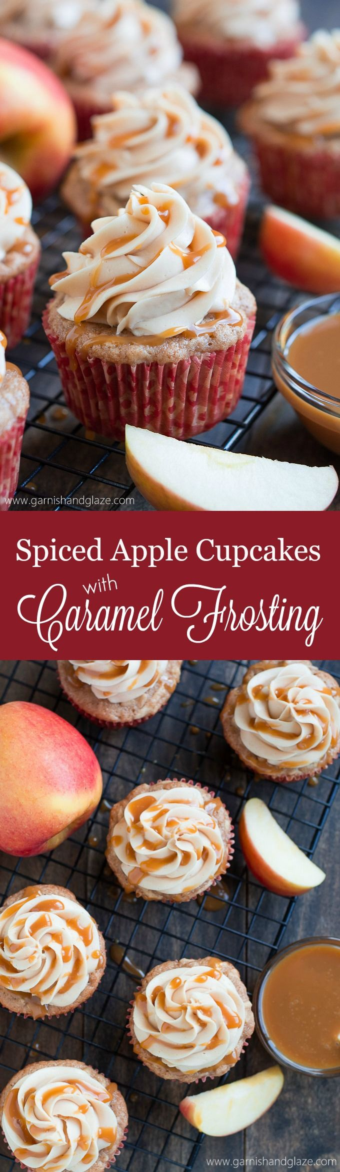 Love caramel and apples? Enjoy them together in these incredibly moist Spiced Apple Cupcakes with Caramel Frosting that is simply heavenly.