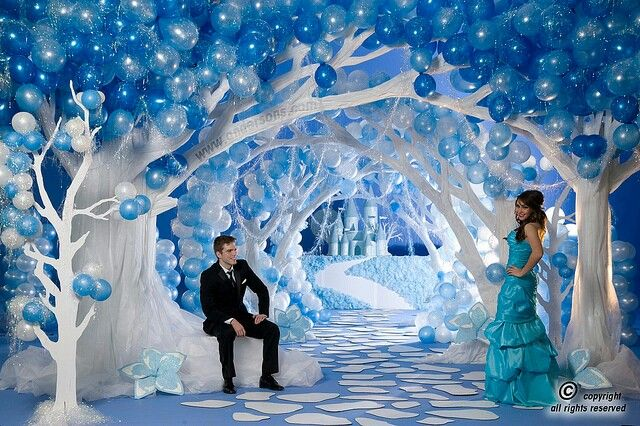 Winter wonderland - you can make balloons float upside down by putting a marble in them