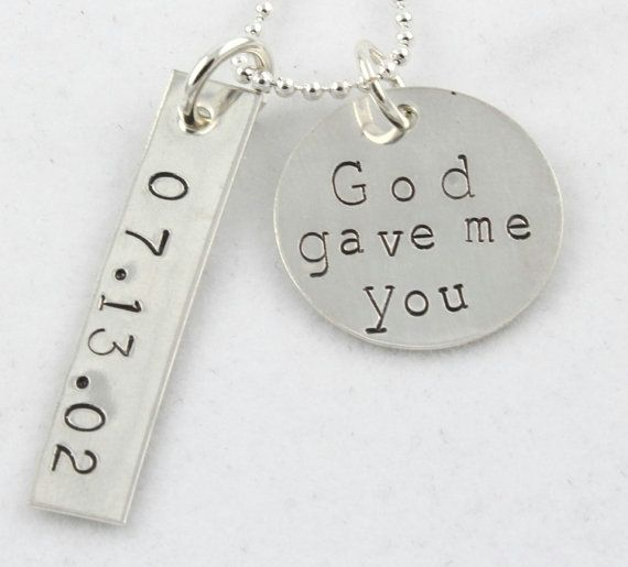 God Gave Me You Wedding Silver Necklace Custom by TheSilverDiva, $35.00