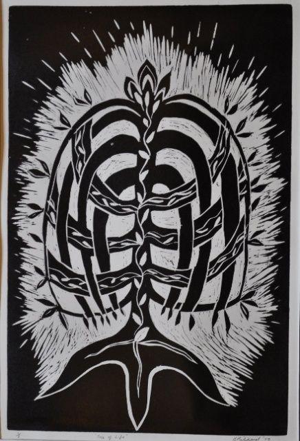 Yggdrasil Tree: lino .cut print. 30 cm x 50 cm