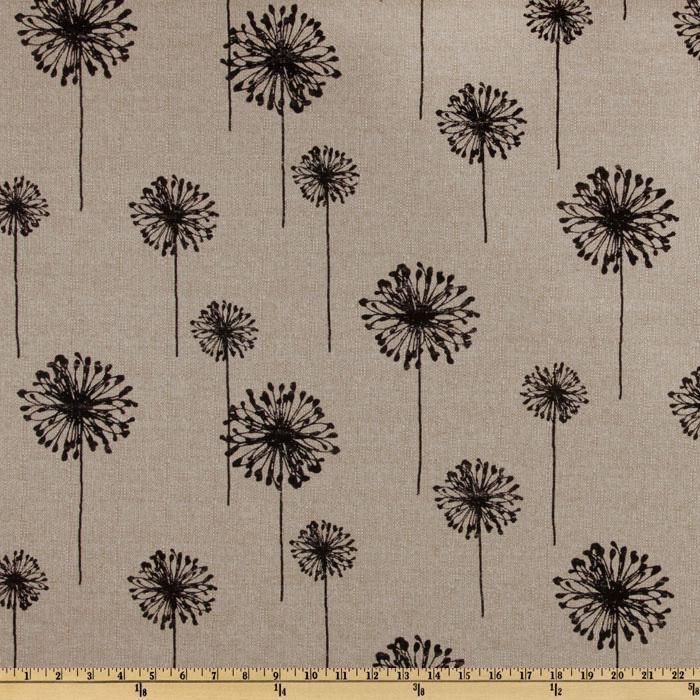 Premier Prints Dandelion Black/Denton from @fabricdotcom  Screen printed on a textured (similar to bark cloth) rayon blend this versatile, medium/heavy weight fabric is perfect for window accents (draperies, valances, and curtains), toss pillows, duvet covers, tote bags and upholstery. *Use cold water and mild detergent (Woolite). Drying is NOT recommended - Air Dry Only - Do not Dry Clean. Colors include black and beige (denton).