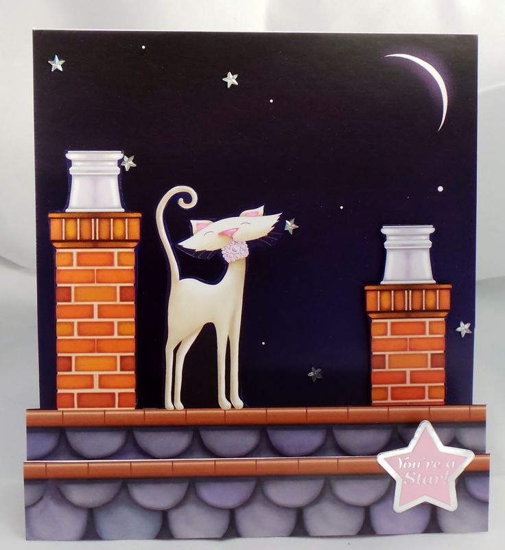 Cute white cat on roof, stepper, greeting card