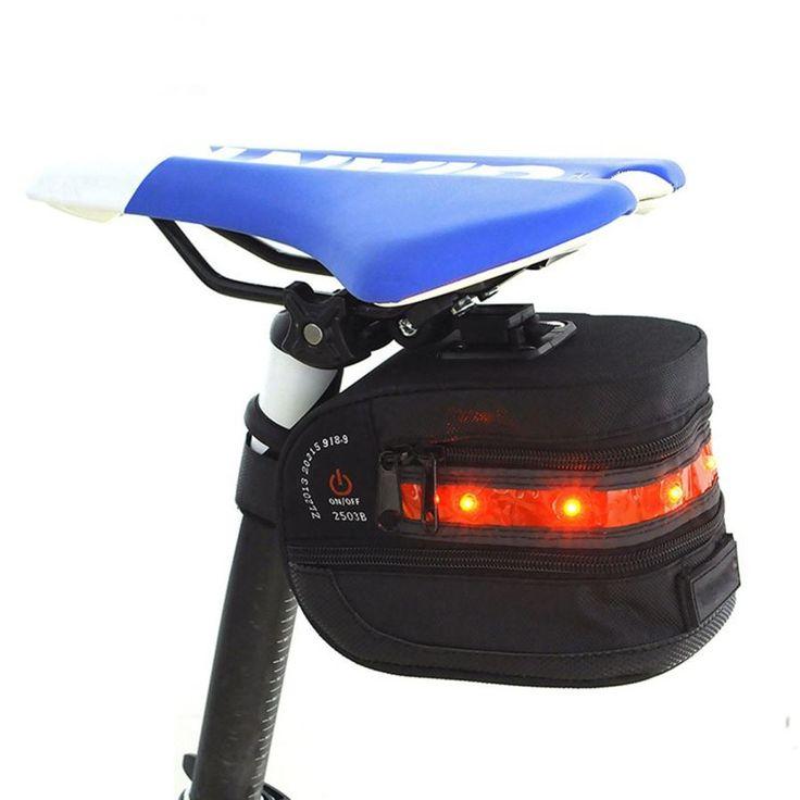 Waterproof Nylon Bike Saddle Bag w / Red LED Warning Light Taillight