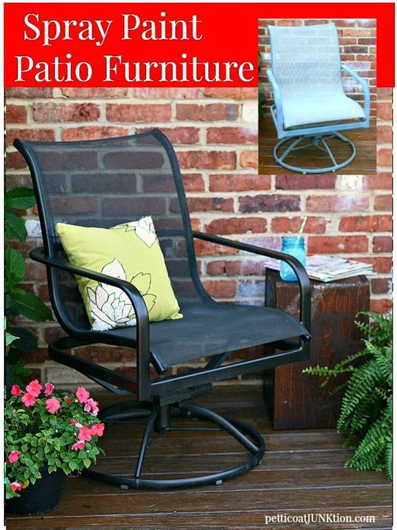 Spray Paint Metal Patio Furniture by @pjunktion. Not only is this project super simple…..it's budget friendly. Gotta love that. http://www.rustoleum.com/product-catalog/consumer-brands/universal
