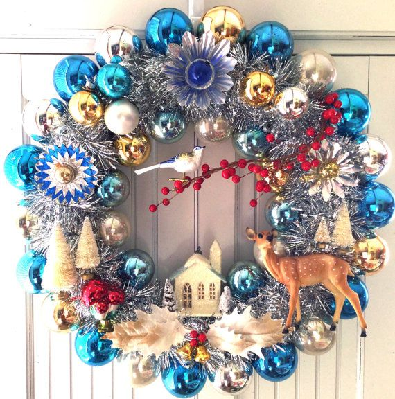 Dazzling Woodland Vintage Christmas Ornament Wreath Diorama                                                                                                                                                                                 More