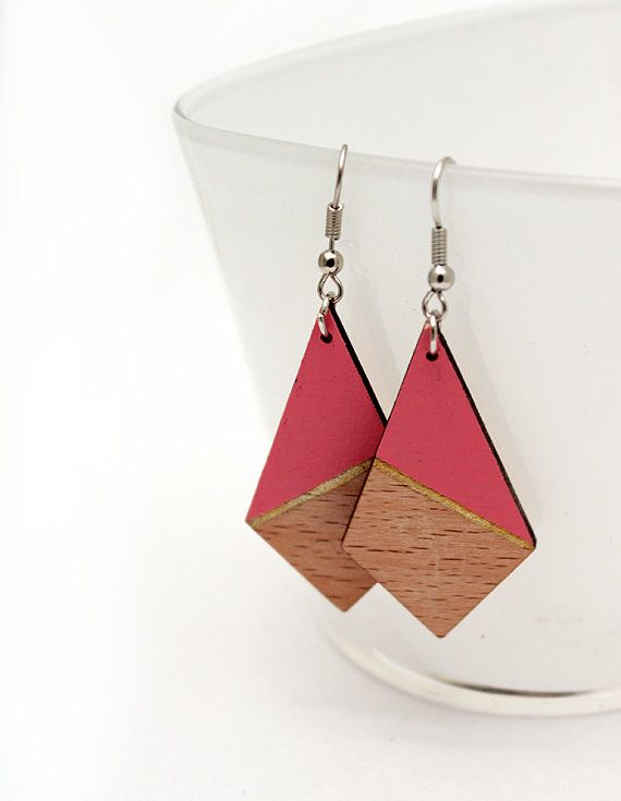 Geometric triangle wooden earrings  salmon rose by TheiaDesign, $22.00