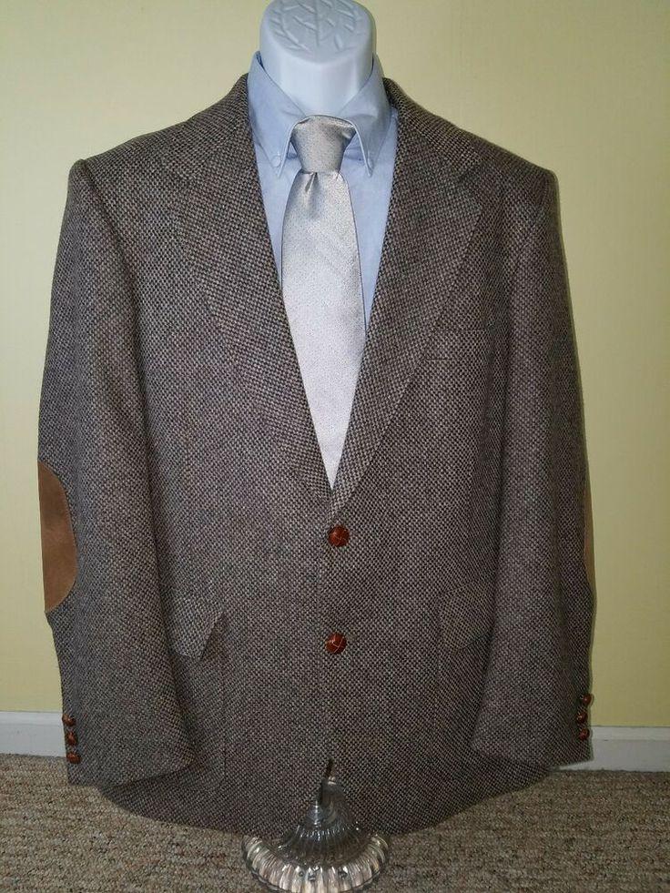 Woff by Farah Tweed Blazer Mens Gray VTG Elbow Patch Wool