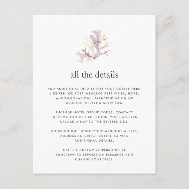 Coral Reef Wedding Guest Details Card Zazzle Com Wedding Invitation Inserts Post Wedding Wedding Enclosure Cards