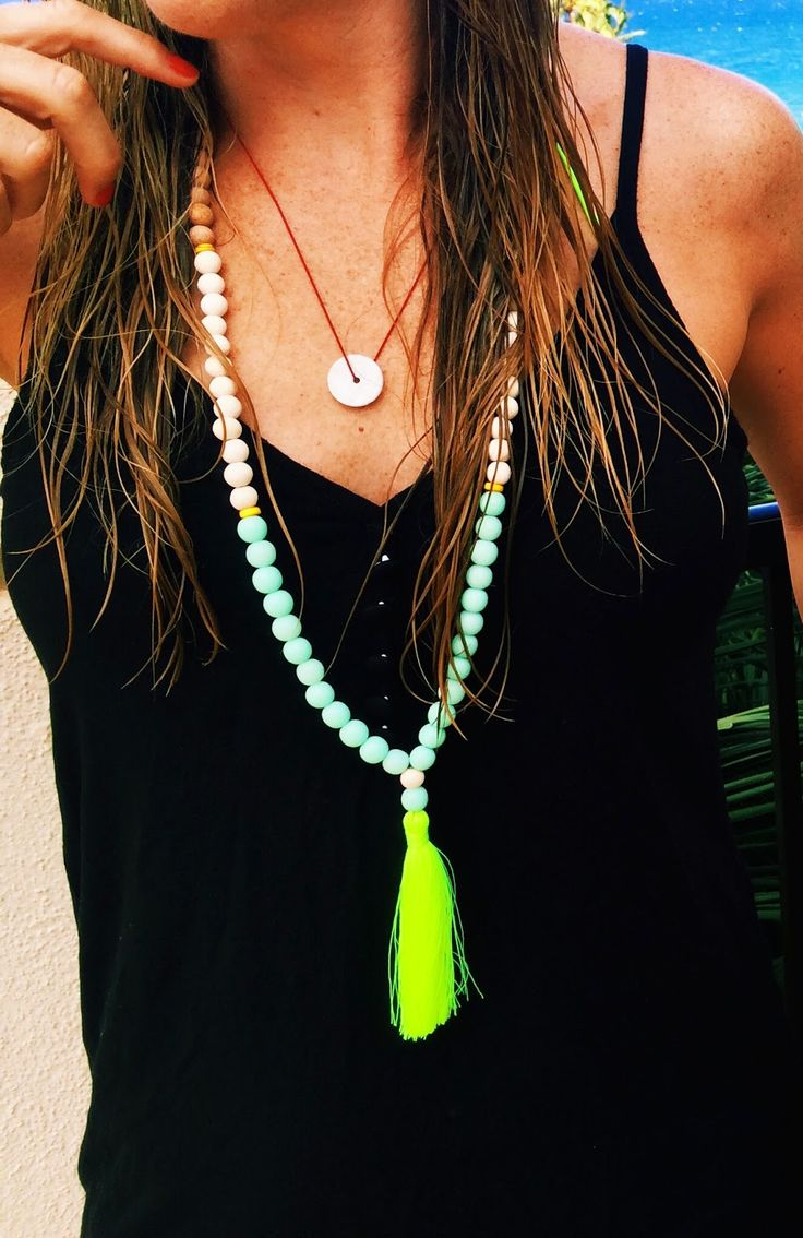 Beach outfit, beaded necklace with tassel, beach jewelry, black surfer dress