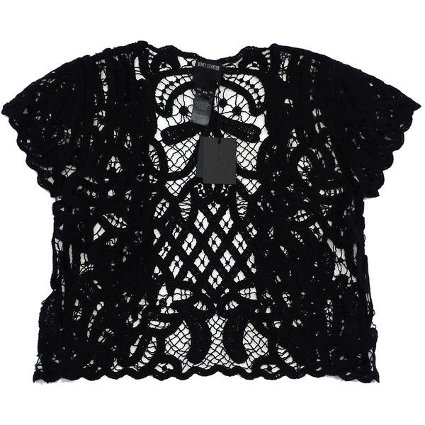 Pre-owned Anna Sui Black Crochet Short Sleeve Top ($73) ❤ liked on Polyvore featuring tops, anna sui top, anna sui, short sleeve tops, short sleeve crochet top and crochet tops