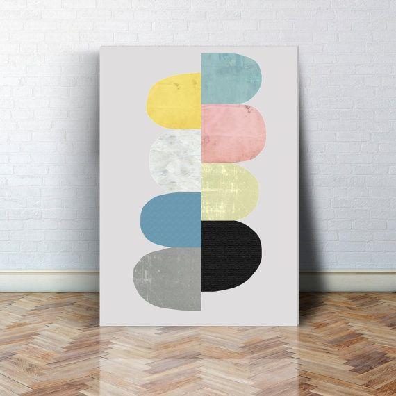 Geometrie Kunst Geometrie Poster Aquarell poster von MissLillemor