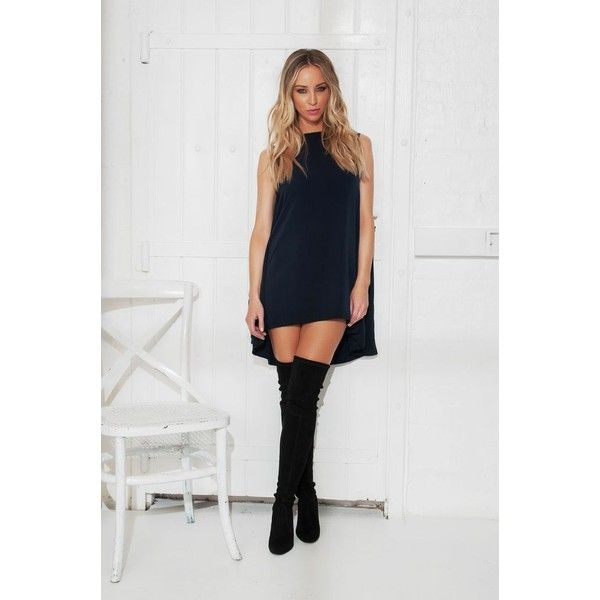 By Lauren Pope Cape Dress (Navy Blue) ❤ liked on Polyvore featuring dresses, navy dress and navy blue dress