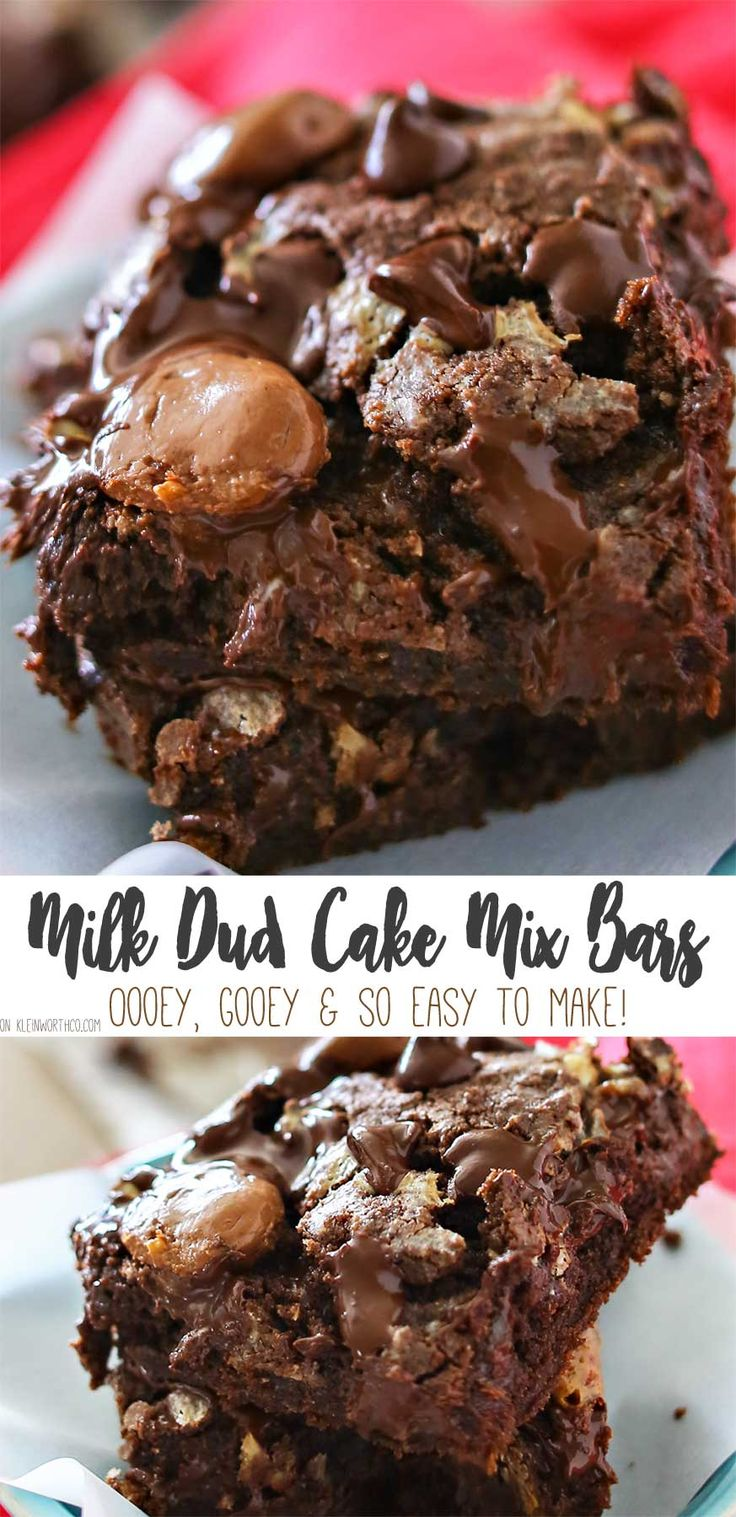 Milk Dud Cake Mix Bars are just another yummy bar recipe that is a MUST MAKE! Incredibly simple & easy desserts don't get any more delicious than this. Chocolate & caramel- you can't go wrong! via @KleinworthCo