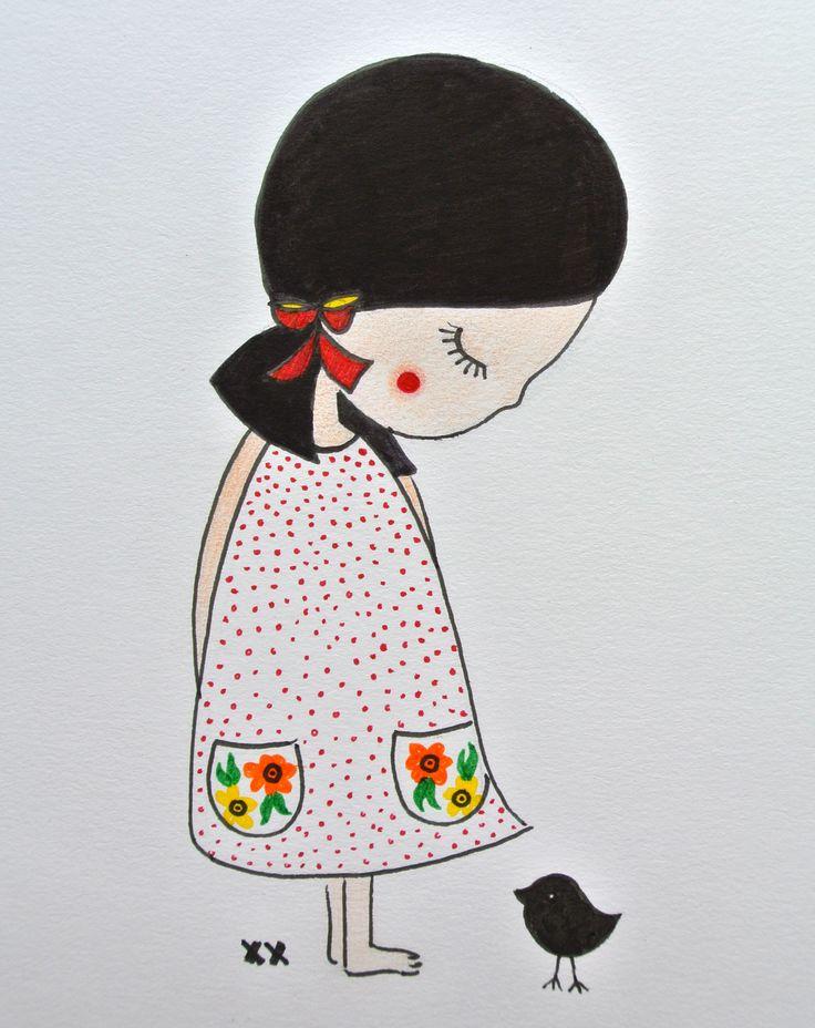 illustration kidsroom   illustratie kinderkamer   meisje   girl   www.kinderkamervintage.nl