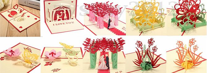 Pine noel card, Christmas greeting card, Xmas 3D pop up card, Birthday card, Love and valentine pop up 3D card. 0.65/each when buy from 300pcs