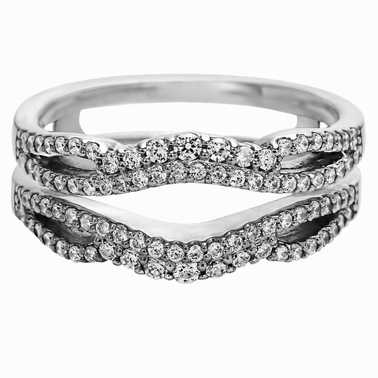TwoBirch 10k Gold 1/2ct Diamond Double Infinity Wedding Ring Guard Enhancer, Women's