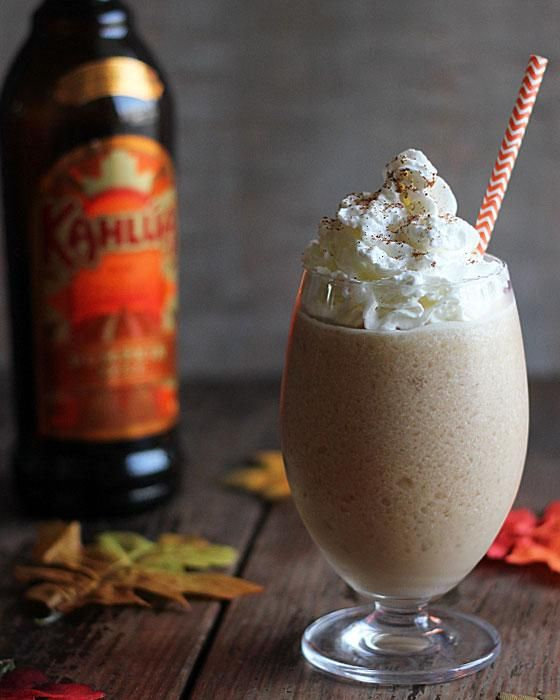 A seasonal twist on a classic rum drink, the Pumpkin Kahlua Colada.