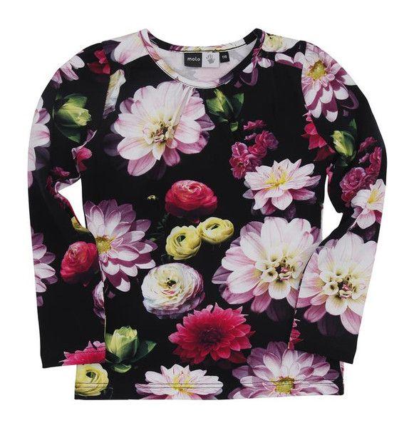 Molo Ruth Black Flowering Long Sleeved T-shirt