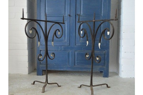 Pair Of French Medieval Standing Chapel Candelabras | Vinterior London  #design #rustic #gothic #interiors #vintage