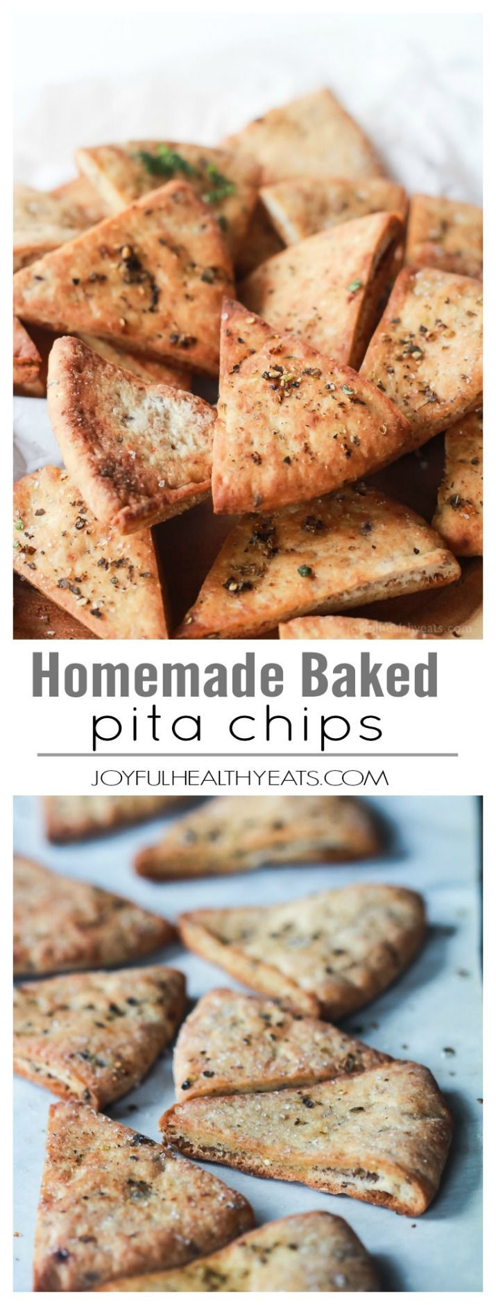A staple! Crispy Baked Pita Chips .. a healthy snack for the new year! | www.joyfulhealthyeats.com | #recipes