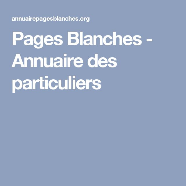 Pages Blanches - Annuaire des particuliers