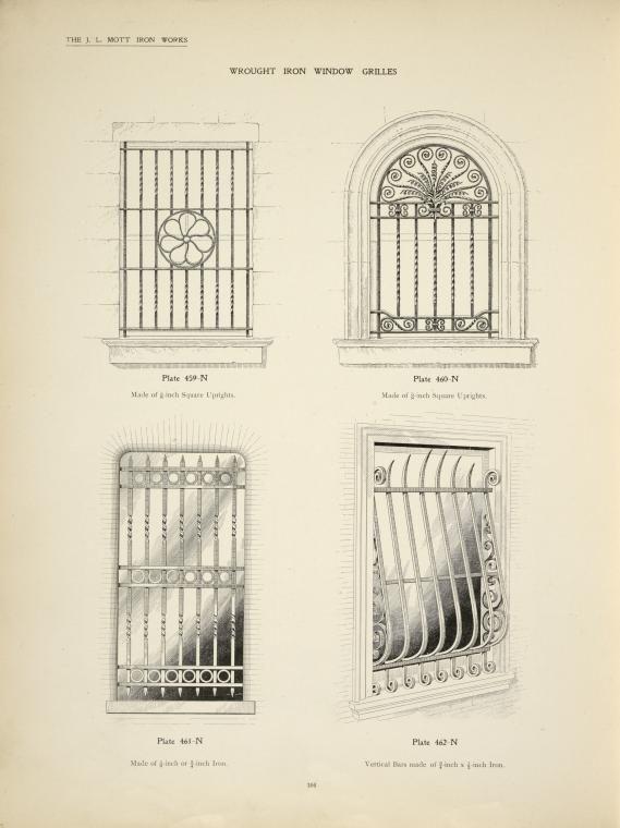 Wrought iron window grilles. Plates 459-N, 460-N, 461-N and 462-N.