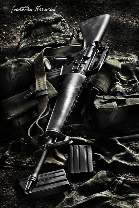 M16. Man I miss this thing... carried it everywhere in basic. Named mine Celeste