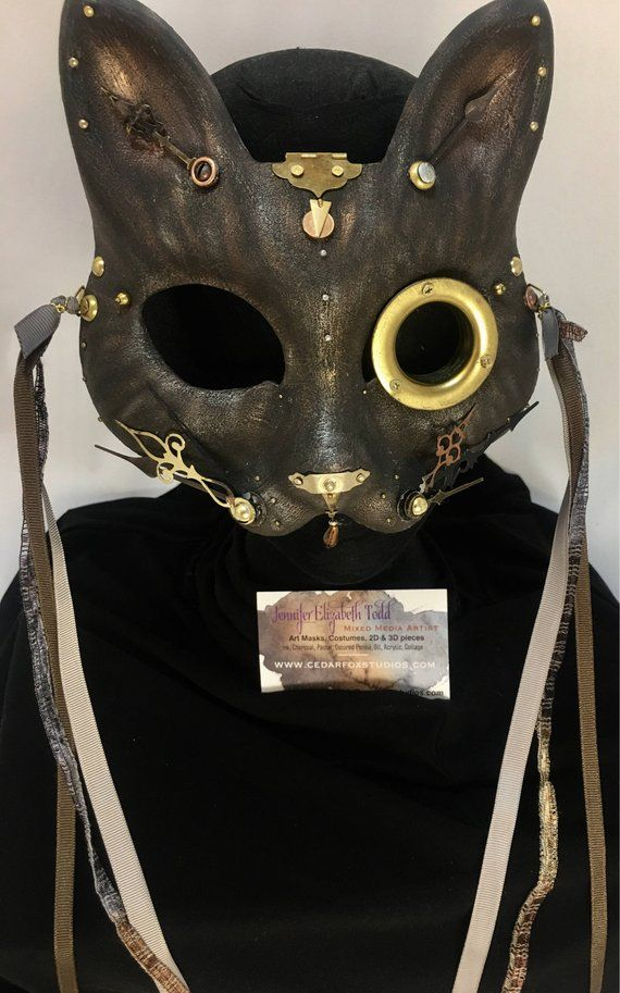 Cat Mask Steampunk Costume Clockwork Cat 3 Gears Masquerade