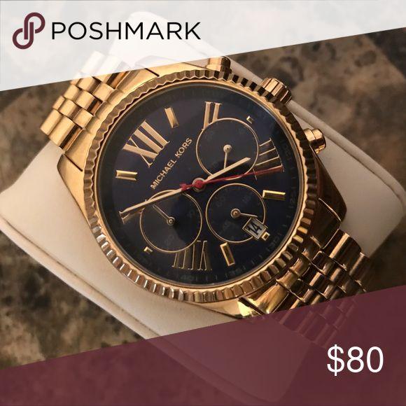Michael Kors! Watch! Gold and navy Michael Kors watch! Michael Kors Accessories Watches #michaelkors #watches #michaelkorswatches #watchescanada #canada #watch
