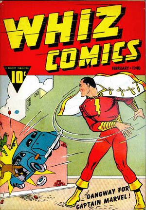 "Captain Marvel made his first appearance in Fawcett's Whiz Comics #2. Captain Marvel's rights were later sold to DC and he is now known as ""Shazam"" since Marvel has a female character known as ""Captain Marvel"".  Go figure."
