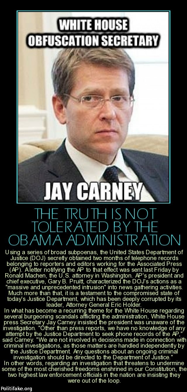 The TRUTH is not tolerated by the Barack Hussein Obama Administration!**FACT: Never has been, never will be!**