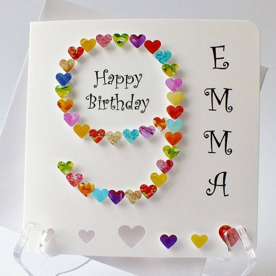 Personalised 9th Birthday Card Handmade Age 9 Hand