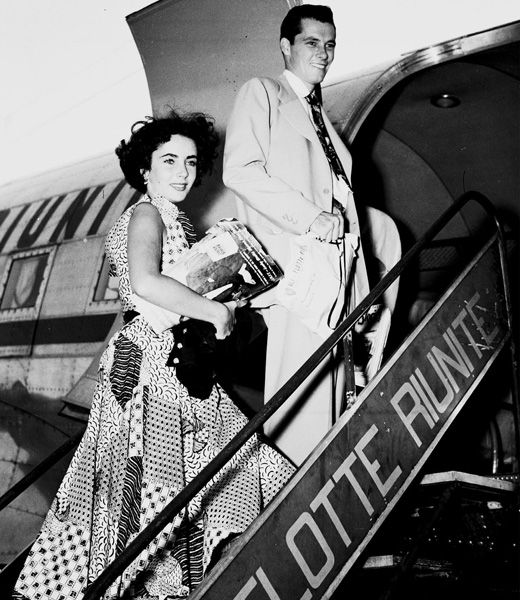 Actress Elizabeth Taylor (1932-2011), with Conrad Hilton, Jr. (1926-1969), date unknown.