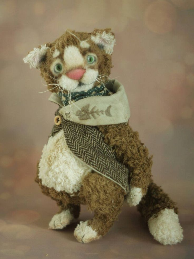 cat toys one of a kind toy teddy bear cat best gift ideas collectible toy ooak toy cute kitty pretty kitty handmade toy artist toy by chernyachi on Etsy