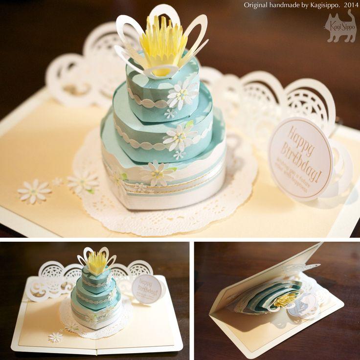 pop-up card [Blue flower cake] original handmade by Kagisippo. -------------------------- [Youtube] http://youtu.be/E7vRYGUiPZA