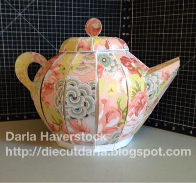 Check out this gorgeous Teapot Darla made from the TEA FOR YOU AND ME SVG KIT.  The pretty paper is just perfect!