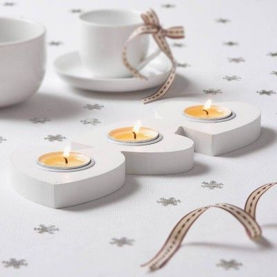 The Heart White Wooden Tea Light Holder Is A Unique