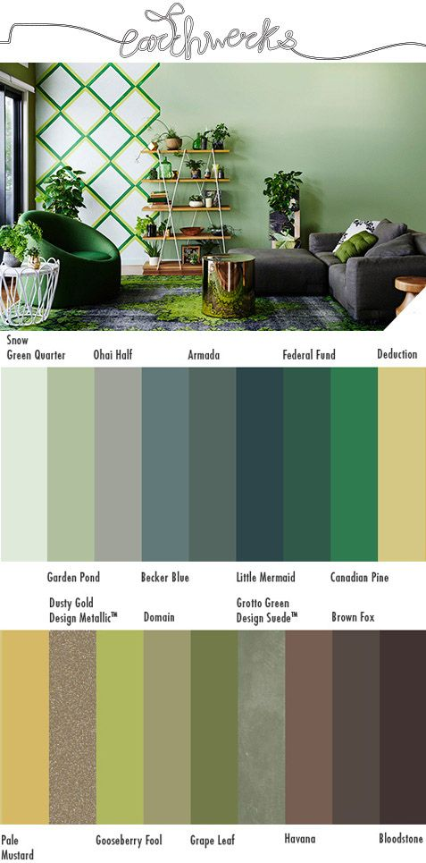 """The final designer colour scheme created for the Dulux Colour Forecast 2015. """"Earthwerks explores our desire to have greenery in our homes and workspaces. The urge to get our hands dirty, to create things from scratch and to be aware of the source of our food drives this trend. A palette drawn from greens and mineral hues creates spaces where mimicked or real nature blends seamlessly with future interiors."""" See all four Forecast colour schemes at: www.appliedpainting.com.au/blog/"""