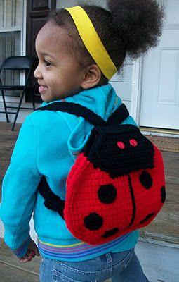 Crochet ladybug backpack - Lucy used to love ladybugs. Does she still?
